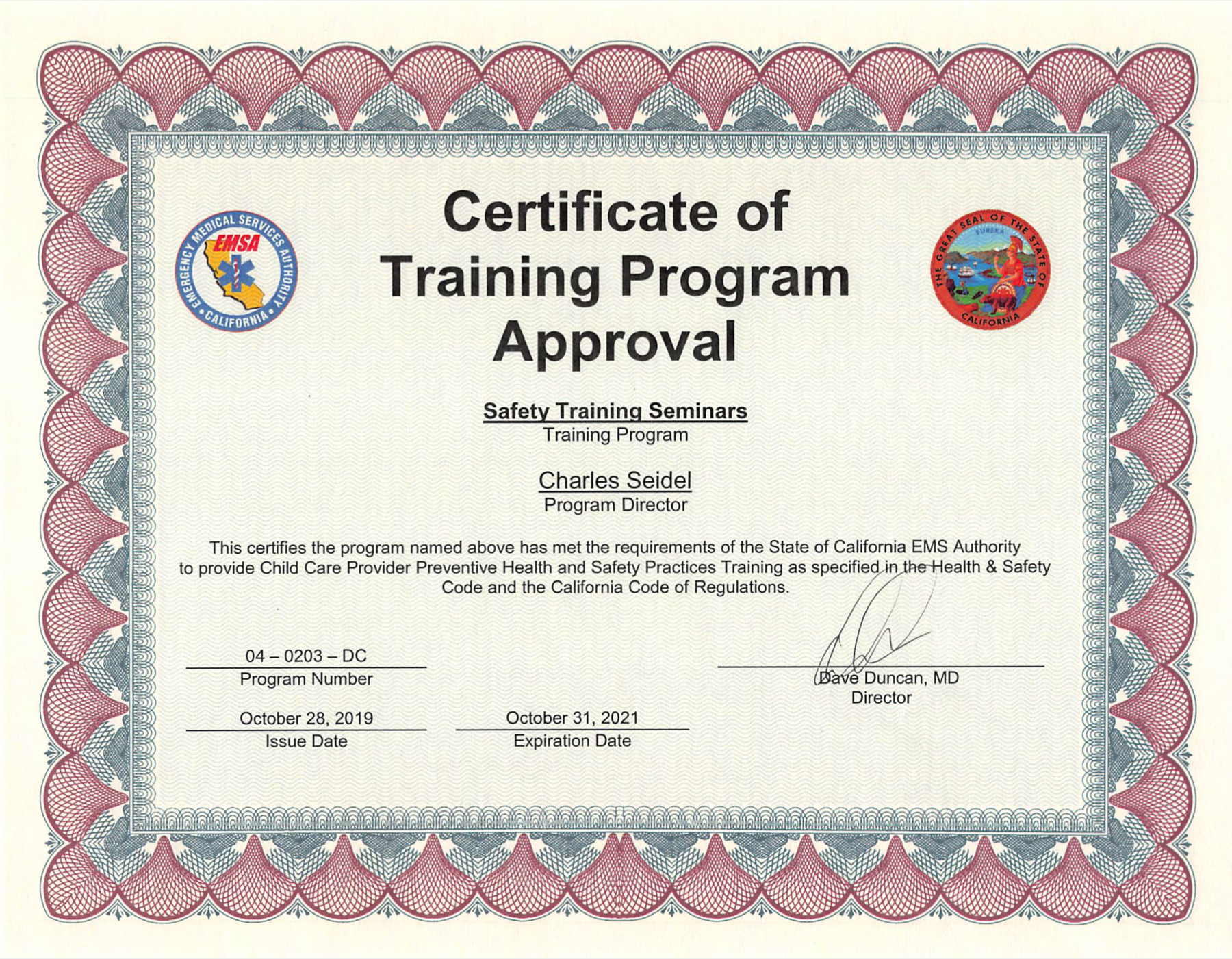 certificate emsa